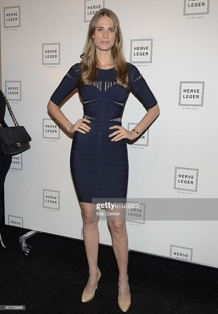 <a gi-track='captionPersonalityLinkClicked' href=/galleries/search?phrase=Julie+Henderson&family=editorial&specificpeople=4154524 ng-click='$event.stopPropagation()'>Julie Henderson</a> poses backstage during the Herve Leger By Max Azria Fall 2013 show during Mercedes-Benz Fashion Weekat The Theater at Lincoln Center on February 9, 2013 in New York City.