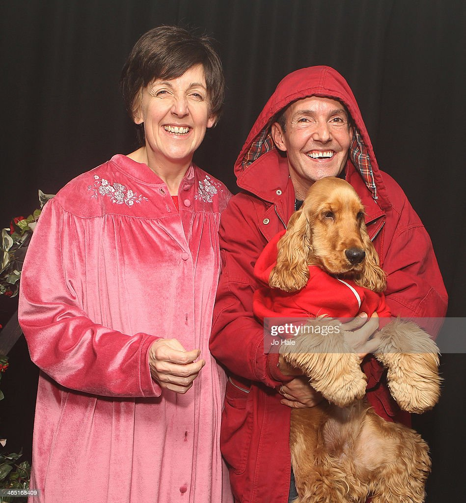 <a gi-track='captionPersonalityLinkClicked' href=/galleries/search?phrase=Julie+Hesmondhalgh&family=editorial&specificpeople=6470659 ng-click='$event.stopPropagation()'>Julie Hesmondhalgh</a>, Jeremy Joseph and Jacob pose backstage at the Hayley Cropper Coronation Street Memorial at G-A-Y on January 25, 2014 in London, England.