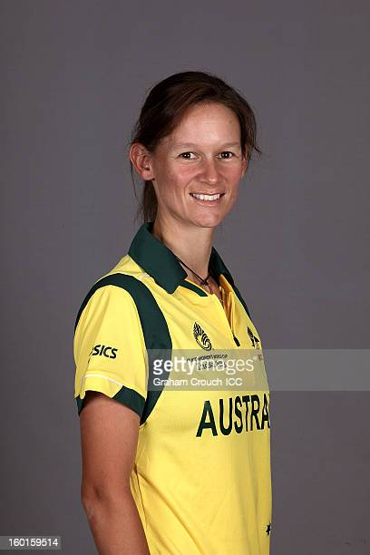 Julie Hunter of Australia attends a portrait session ahead of the ICC Womens World Cup 2013 at the Taj Mahal Palace Hotel on January 27 2013 in...