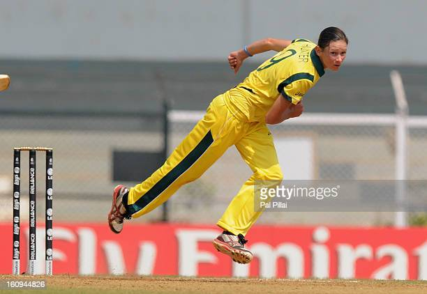 Julie Hunter of Australia bowls during the super six match between England and Australia held at the CCI on February 8 2013 in Mumbai India