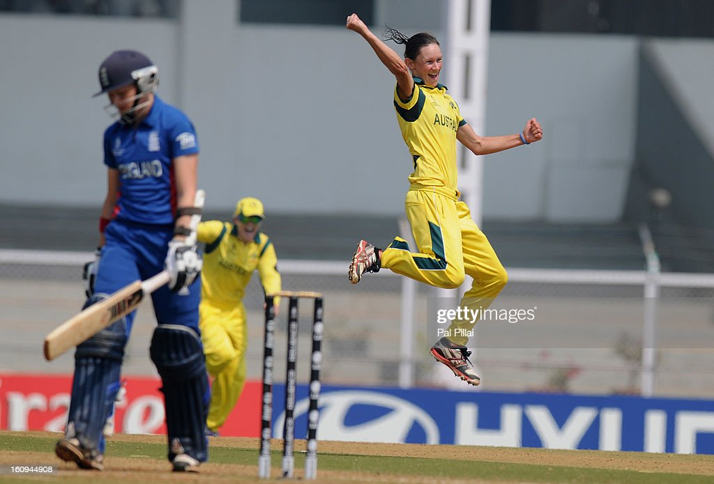 Julie Hunter of Australia celebrates the wicket of Arran Brindle of England during the super six match between England and Australia held at the CCI (Cricket Club of India) on February 8, 2013 in Mumbai, India.