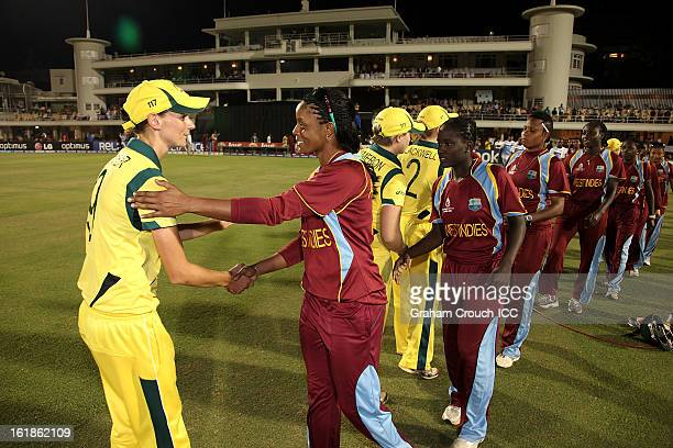 Julie Hunter of Australia shakes hands with Merissa Aguilleira of West Indies after defeating the West Indies the final between Australia and West...