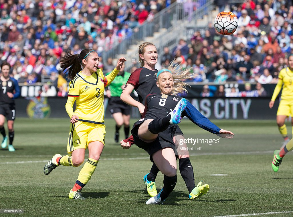 Johnston (IA) United States  city images : Julie Johnston #8 of the United States scores a goal against Natalia ...
