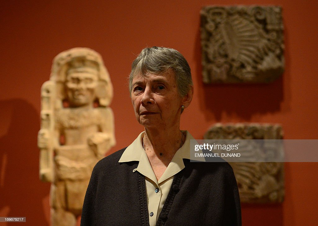 Julie Jones, head of the Department of the Arts of Africa, Oceania, and the Americas at the Metropolitan Museum, poses for a photo during an interview with Agence France-Presse, in New York, January 15, 2013. Jones, an eminent curator and scholar of the arts of the ancient Americas, will retire at the end of March 2013, following 21 years at the Metropolitan Museum. AFP PHOTO/EMMANUEL DUNAND