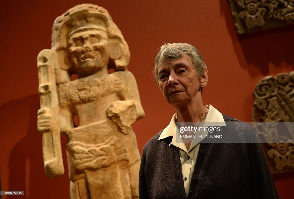 Julie Jones, head of the Department of the Arts of Africa, Oceania, and the Americas at the Metropolitan Museum, poses for a photo during an interview with Agence France-Presse, in New York, January 15, 2013. Jones, an eminent curator and scholar of the arts of the ancient Americas, will retire at the end of March 2013, following 21 years at the Metropolitan Museum.