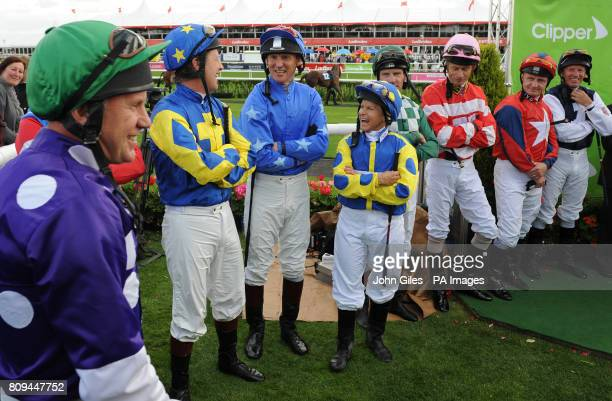 Julie Krone with other jockeys before the Clipper Logistics Leger Legends Classified Stakes during the Welcome to Yorkshire St Ledger Festival...