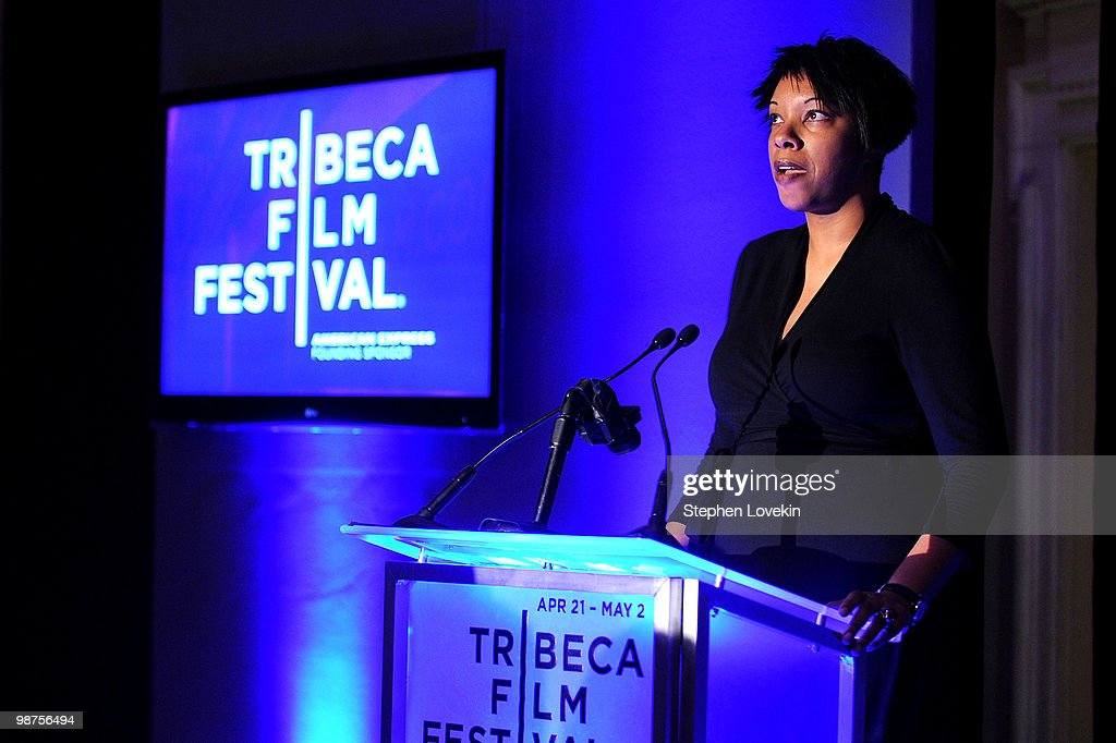 Julie La'Bassiere speaks onstage at the Awards Night Show & Party during the 2010 Tribeca Film Festival at the W New York - Union Square on April 29, 2010 in New York City.