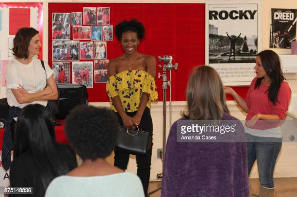 Julie Lake Vicky Jeudy speak at The Artists Project Visits Performing Arts Students At Hollywood High School on November 16 2017 in Hollywood...