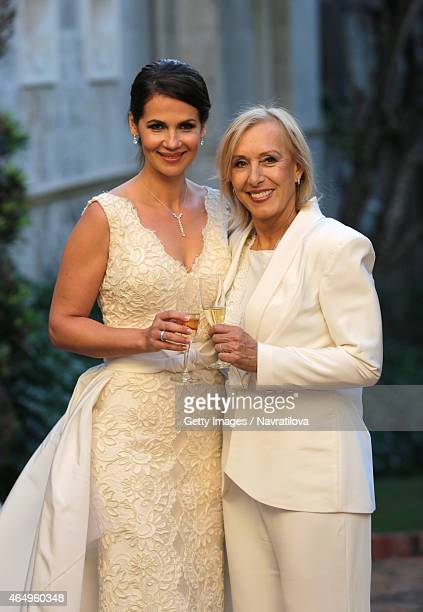Julie Lemigova and Martina Navratilova pose at the Martina Navratilova and Julie Lemigova wedding reception on February 14 2015 in Palm Beach