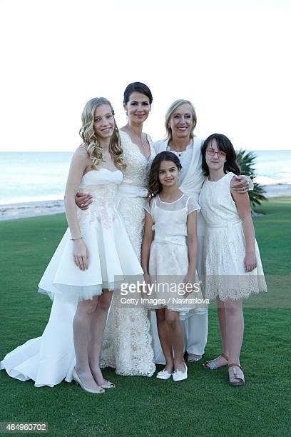 Julie Lemigova Martina Navratilova daughters Victoria and Emma and guest pose at the Martina Navratilova and Julie Lemigova wedding reception on...