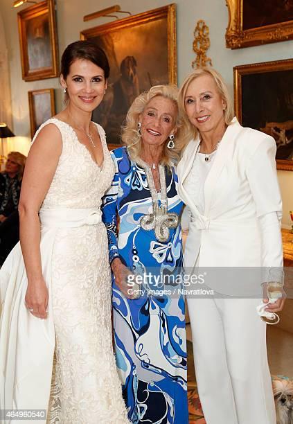 Julie Lemigova Terry Allen Kramer and Martina Navratilova attend the Martina Navratilova and Julie Lemigova wedding reception on February 14 2015 in...