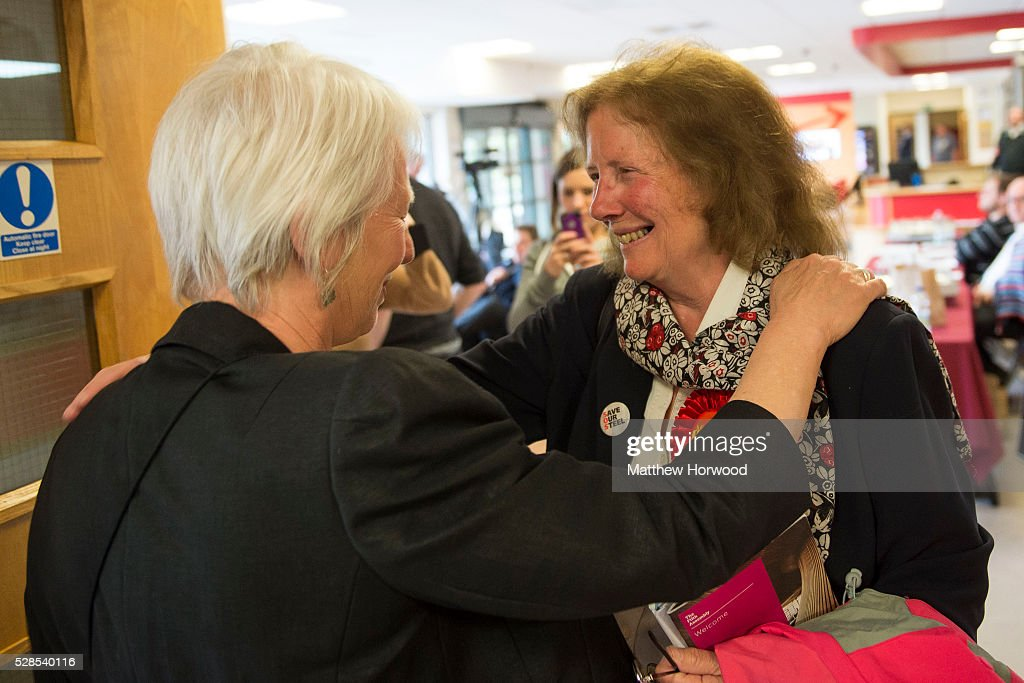 Julie Morgan (R) Labour AM for Cardiff North celebrates with Jenny Rathbone after both candidates retained their seats during the National Assembly for Wales election count at the Sport Wales National Centre on May 06, 2016 in Cardiff, Wales. Yesterday the UK went to the polls to vote for assembly members, councillors, mayors and police commissioners.