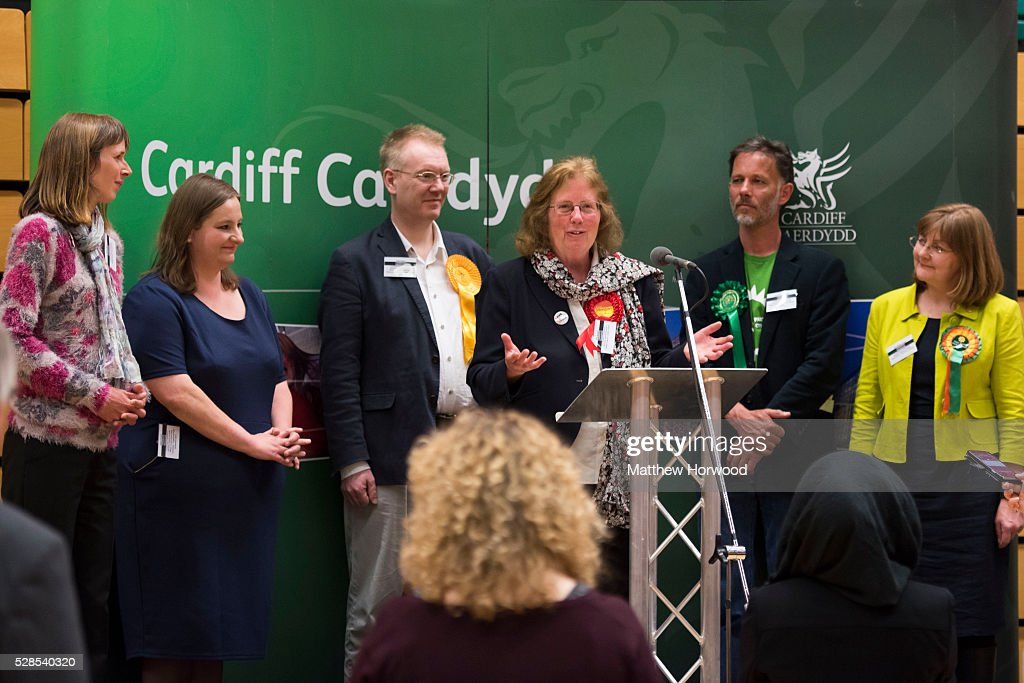 Julie Morgan Labour AM for Cardiff North gives a speech after retaining her seat during the National Assembly for Wales election count at the Sport Wales National Centre on May 06, 2016 in Cardiff, Wales. Yesterday the UK went to the polls to vote for assembly members, councillors, mayors and police commissioners.