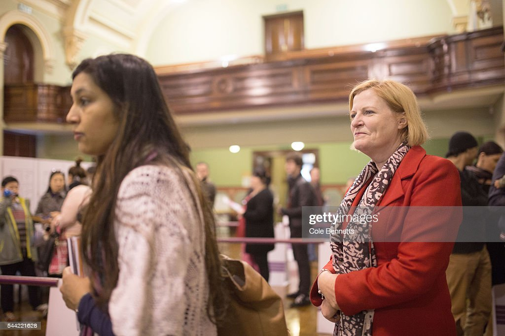 Julie Owens, Labor MP waits in line at the Parramatta Town Hall to vote on July 2, 2016 in Parramatta, Australia. Voters head to the polls today to elect the 45th parliament of Australia.