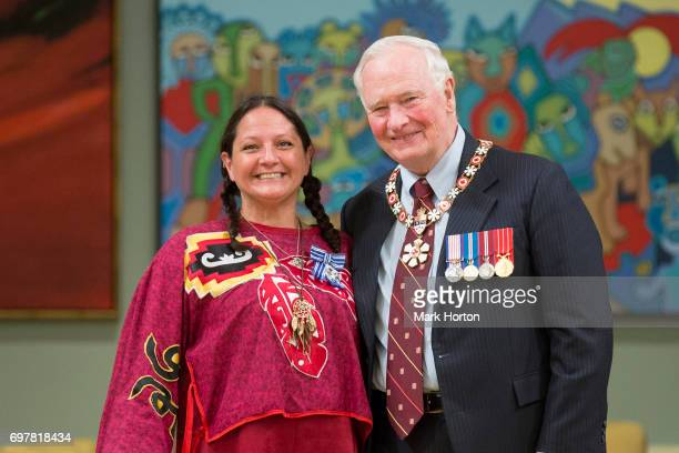 Julie PellissierLush is awarded the Meritorious Service Medal by Governor General of Canada David Johnston at Rideau Hall on June 19 2017 in Ottawa...