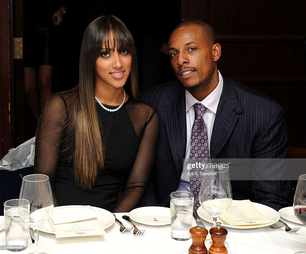 Julie Pierce (L) and NBA player <a gi-track='captionPersonalityLinkClicked' href=/galleries/search?phrase=Paul+Pierce&family=editorial&specificpeople=201562 ng-click='$event.stopPropagation()'>Paul Pierce</a> attend DuJour Magazine's Jason Binn Along With GRAFF's Henri Barguirdjian's Dinner Party Welcoming Brooklyn Nets <a gi-track='captionPersonalityLinkClicked' href=/galleries/search?phrase=Paul+Pierce&family=editorial&specificpeople=201562 ng-click='$event.stopPropagation()'>Paul Pierce</a> To New York at The Palm Tribeca on October 21, 2013 in New York City.