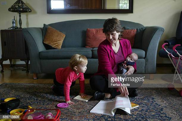Julie Sergas mother of two and a student at her home in Waverton Children are Chelsea and Aarron 5 July 2005 SHD Picture by JACKY GHOSSEIN