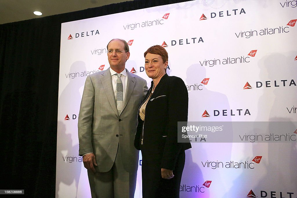Julie Southern, Chief Commercial Officer of Virgin Atlantic Group, attends a news conference with Delta Chief Executive Richard Anderson where it was announced that Delta Air Lines is buying a 49 percent stake in Richard BransonÕs Virgin Atlantic Airways Ltd. from Singapore Airlines for $360 million on December 11, 2012 in New York City. The airlines will begin a joint venture on 31 roundtrip daily flights between North America and Heathrow Airport, one of the worldÕs busiest hubs.
