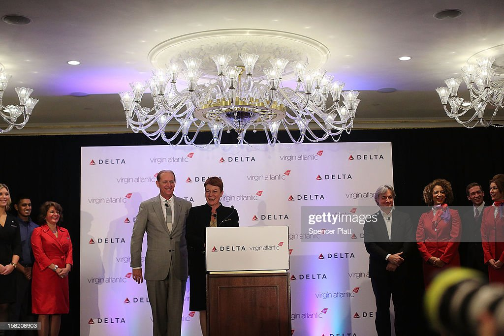 Julie Southern, Chief Commercial Officer of Virgin Atlantic Group, attends a news conference with Delta Chief Executive Richard Anderson where it was announced that Delta Air Lines is buying a 49 percent stake in Richard Branson's Virgin Atlantic Airways Ltd. from Singapore Airlines for $360 million on December 11, 2012 in New York City. The airlines will begin a joint venture on 31 roundtrip daily flights between North America and Heathrow Airport, one of the world's busiest hubs.
