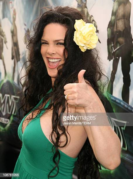 Julie Strain during 'TMNT' Los Angeles Premiere Red Carpet at Grauman's Chinese Theatre in Hollywood California United States