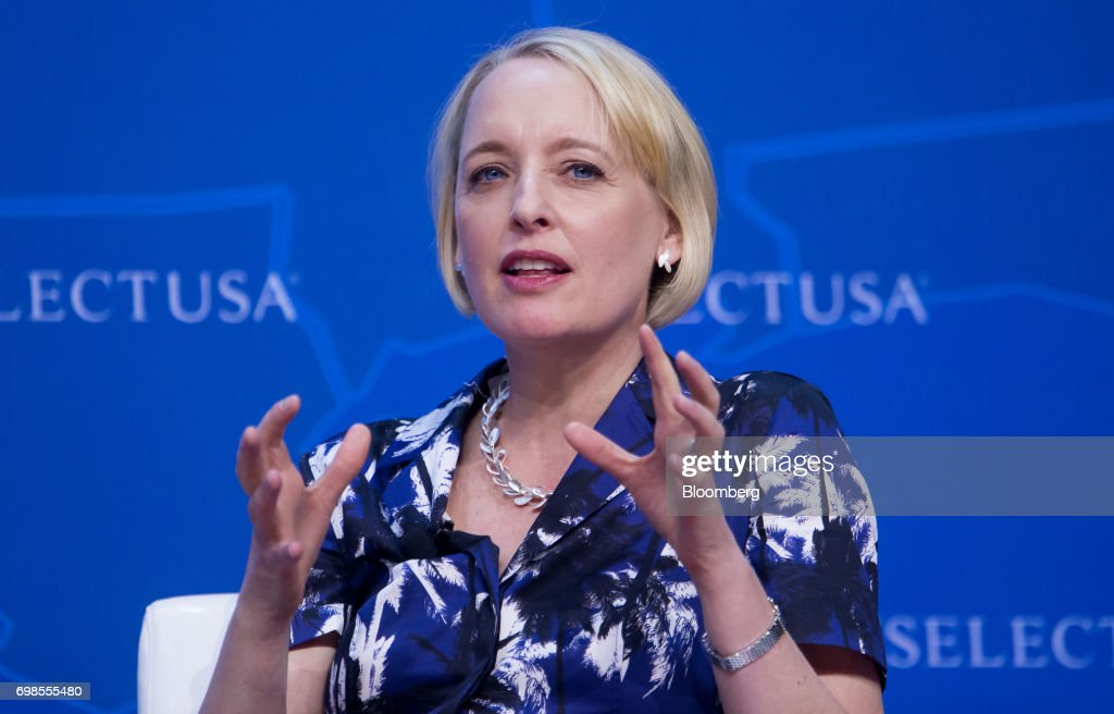 Julie Sweet, chief executive officer for North America at Accenture PLC, speaks during the SelectUSA Investment Summit in Oxon Hill, Maryland, U.S., on Tuesday, June 20, 2017. The SelectUSA Investment Summit brings together companies from all over the world, economic development organizations from every corner of the nation and other parties working to facilitate foreign direct investment (FDI) in the United States. Photographer: Eric Thayer/Bloomberg via Getty Images