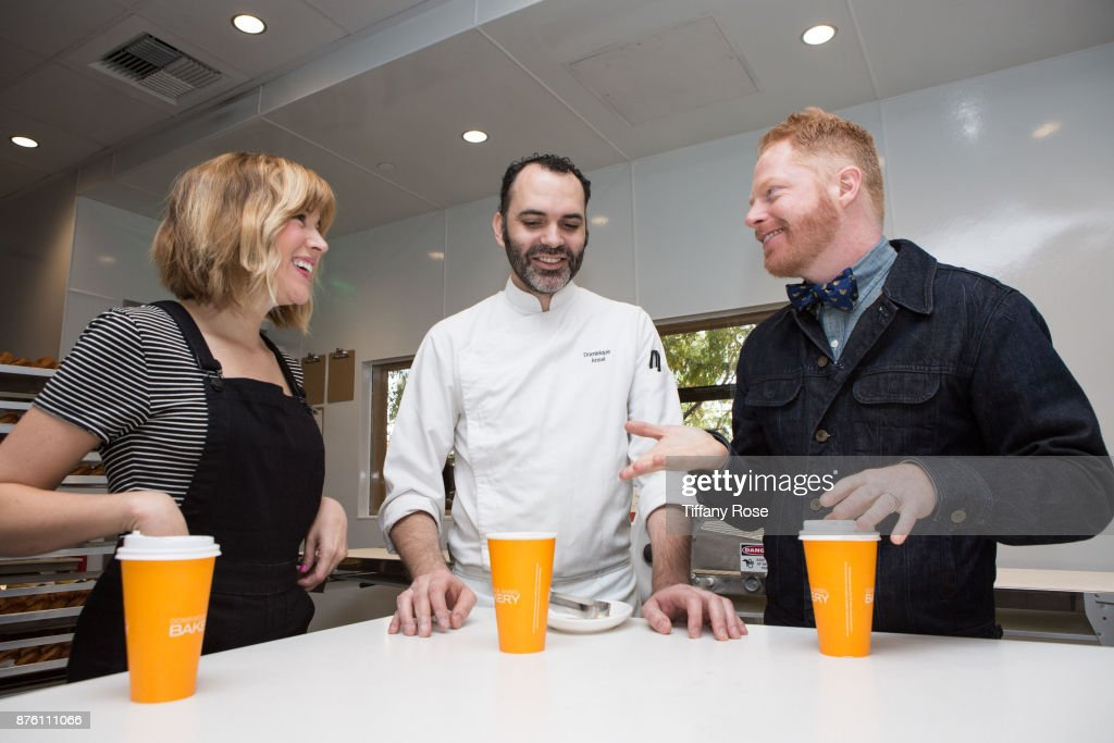 Chef Dominique Ansel welcomes Jesse Tyler Ferguson & Julie Tanous to Dominique Ansel Bakery at The Grove to celebrate the bakery's Tie The Knot bowtie collaboration