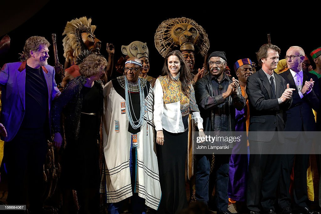 <a gi-track='captionPersonalityLinkClicked' href=/galleries/search?phrase=Julie+Taymor&family=editorial&specificpeople=227924 ng-click='$event.stopPropagation()'>Julie Taymor</a> (C), creative team and the cast of Lion King attend the 'The Lion King' On Broadway 15th Anniversary Celebration at the Minskoff Theatre on November 18, 2012 in New York City.