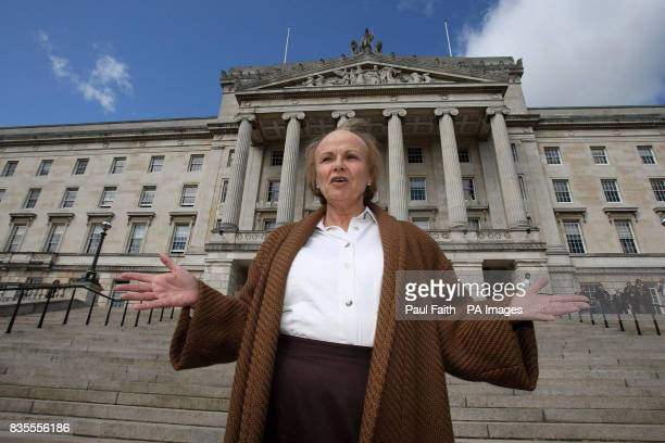 Julie Walters as Mo Mowlan former Northern Ireland Secretary of State during filming at Parliament buildings in Stormont in Belfast