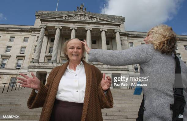 PHOTO Julie Walters as Mo Mowlan former Secretary of State for Northern Ireland during filming at Stormont for Channel 4 drama 'Mo'