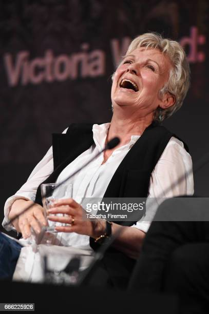 Julie Walters laughs onstage during the panel discussion 'Victoria Wood A Tribute' at the BFI Radio Times TV Festival at the BFI Southbank on April 8...