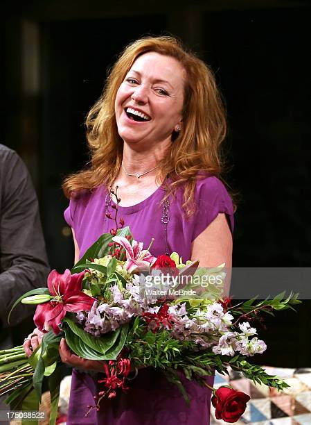 Julie White during the curtain call for her debut performance in 'Vanya And Sonia And Masha And Spike' at The Golden Theatre on July 30 2013 in New...