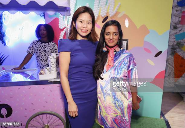 Julie Yoo and Anjelika Temple attend Brit Co Kicks Off Experiential PopUp #CreateGood with Allison Williams and Daphne Oz at Brit Co on October 4...