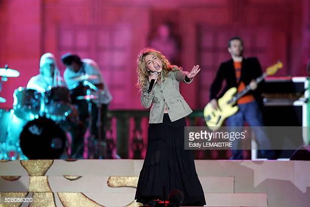 Julie Zenatti performs during Fete de La Musique at Versailles Palace