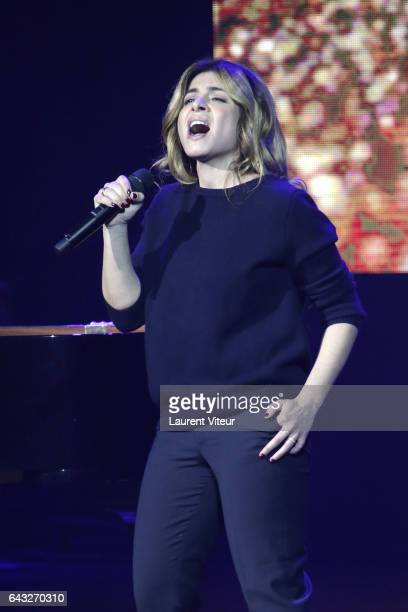 Julie Zenatti performs during 'La Nuit De La Deprime 2017' at Folies Bergeres on February 20 2017 in Paris France