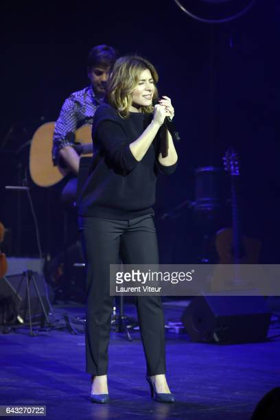 Julie Zenatti performs during 'La Nuit De La Deprime 2017' at Folies Bergeres on February 20 2017 in Paris France