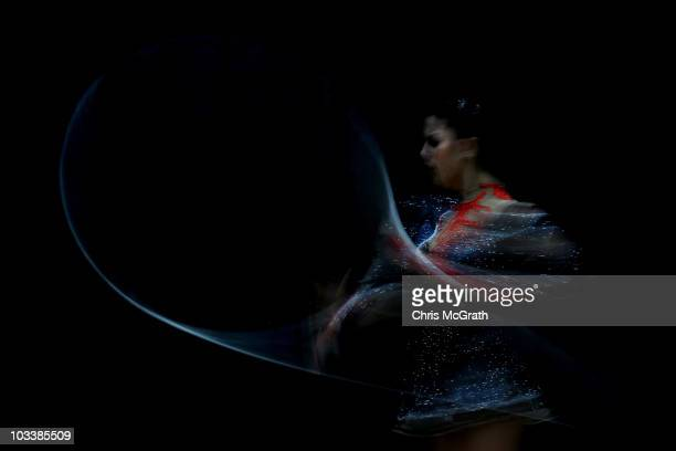 Julie Zetlin competes during the Rhythmic AllAround competition on day three of the 2010 Visa Gymnastics Championships at Chase Arena on August 13...