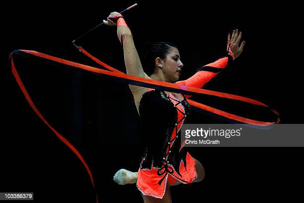 Julie Zetlin competes in the Rhythmic AllAround competition on day four of the 2010 Visa Gymnastics Championships at Chase Arena on August 14 2010 in...