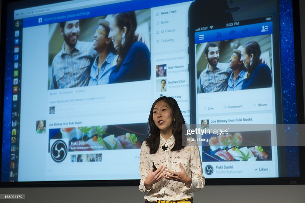 Julie Zhuo, director of design for Facebook Inc., speaks during an event at the company's headquarters in Menlo Park, California, U.S., on Thursday, March 7, 2013. Mark Zuckerberg, chief executive officer and founder of Facebook Inc., discussed the social-network site's upgraded News Feed which includes bigger photos, information sorted into topics and a more consistent design across devices. Photographer: David Paul Morris/Bloomberg via Getty Images