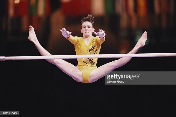 JulieAnne Monico of Australia performs during the Women's Uneven Bars event on 1st October 1992 during the World Artistic Gymnastics Championships at...