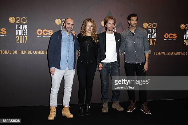 Julien Arruti Elodie Fontan Philippe Lacheau and Tarek Boudali attend the 'Alibicom' photocall during the 20th l'Alpe d'Huez International Comedy...