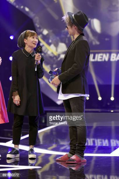 Julien Bam and his mother during the Deutscher Webvideopreis 2017 at ISS Dome on June 1 2017 in Duesseldorf Germany