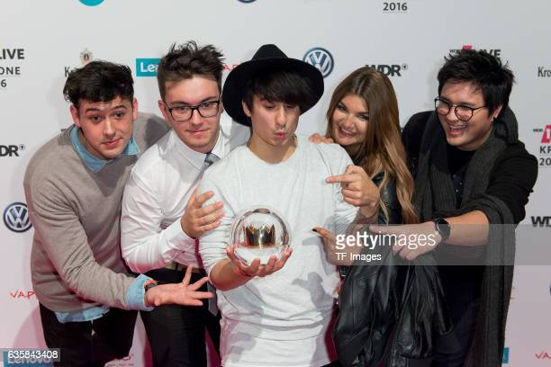 Julien Bam celebrate his award during the 1Live Krone at Jahrhunderthalle on December 1 2016 in Bochum Germany