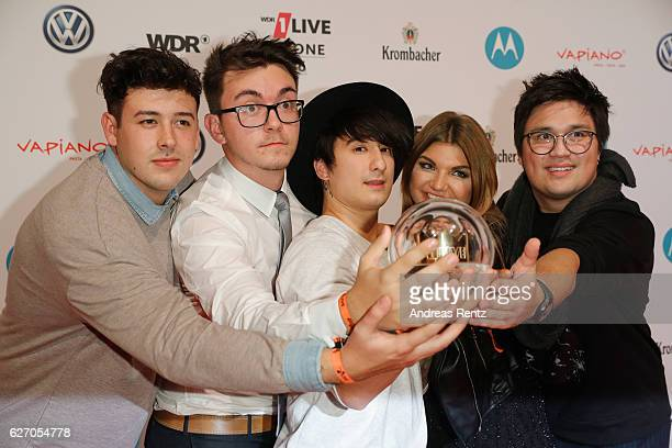 Julien Bam celebrate thier award after the 1Live Krone at Jahrhunderthalle on December 1 2016 in Bochum Germany