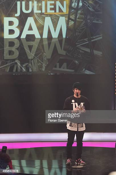 Julien Bam is seen on stage after receiving his award during the 1Live Krone 2015 at Jahrhunderthalle on December 3 2015 in Bochum Germany