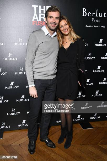 Julien Benneteau and wife Karen attend the Hublot and Berluti unveil of two new watches at Hotel D'Evreux on December 4 2017 in Paris France