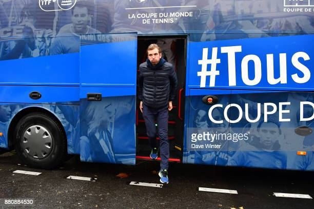 Julien Benneteau arrives for the presentation of the Davis Cup winning team to the staff of the French Tennis Federation at Roland Garros on November...