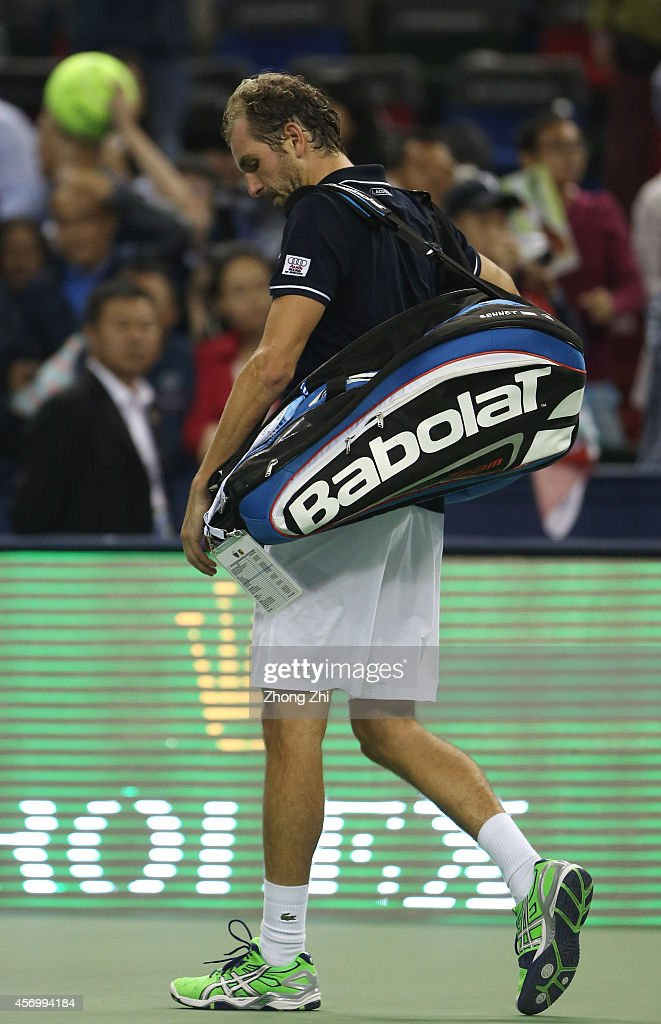 Julien Benneteau of France after losing the Men's Singles Quarterfinal match Roger Federer of Switzerland during the day 6 of the Shanghai Rolex Masters at the Qi Zhong Tennis Center on October 10, 2014 in Shanghai, China.