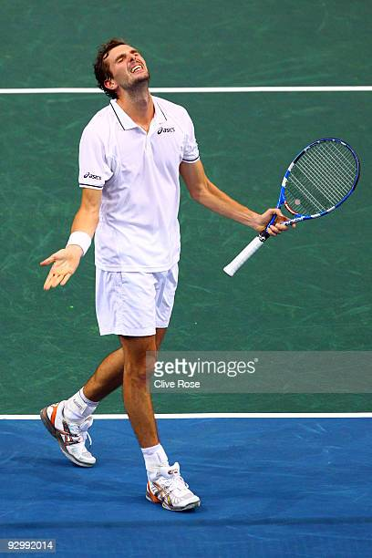 Julien Benneteau of France celebrates during his match against Roger Federer of Switzerland during the ATP Masters Series at the Palais Omnisports De...