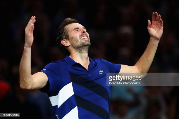 Julien Benneteau of France celebrates victory after his match against Marin Cilic of Croatia during Day 5 of the Rolex Paris Masters held at the...