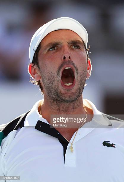 Julien Benneteau of France celebrates winning his semi final match against Marcos Baghdatis of Cyprus during day six of the 2012 Sydney International...